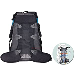 WASING 55L Internal Frame Backpack for Outdoor Hiking Travel Climbing Camping Mountaineering with Rain Cover WS-55Lpack-darkblue