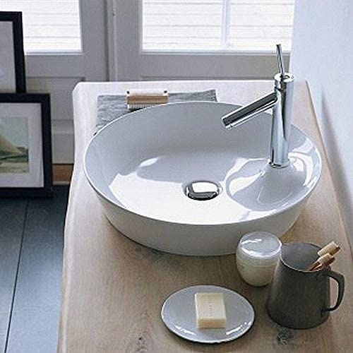 洗面ボウル バスルームバルコニーホームトイレのための現代超薄型ラウンド上記カウンターセラミック容器シンク盆地ボウル 浴室の台所の流し (Color : White, Size : 43x43x13cm)