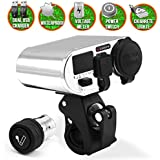 LEXIN® Chrome Waterproof Motorcycle 3 in 1 Handlebar Power Station Cigarrete Lighter/dual Usb Charger/voltage Meter