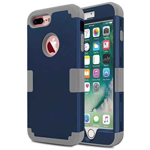 360 Degree Full Body Armor Case for Apple iPhone 7 Plus (Grey) - 6