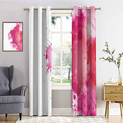 - Abstract 100% Blackout Lining Curtain Artistic Display with Pink Watercolor Splashes Paint Splatters Fluid Brush Full Shading Treatment Kitchen Insulation Curtain W84 x L108 Inch Pink Hot Pink Red