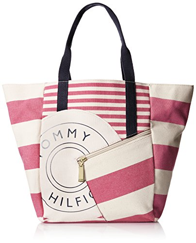 Tommy Hilfiger Rugby Tote Bag (Raspberry/Natural) - 1
