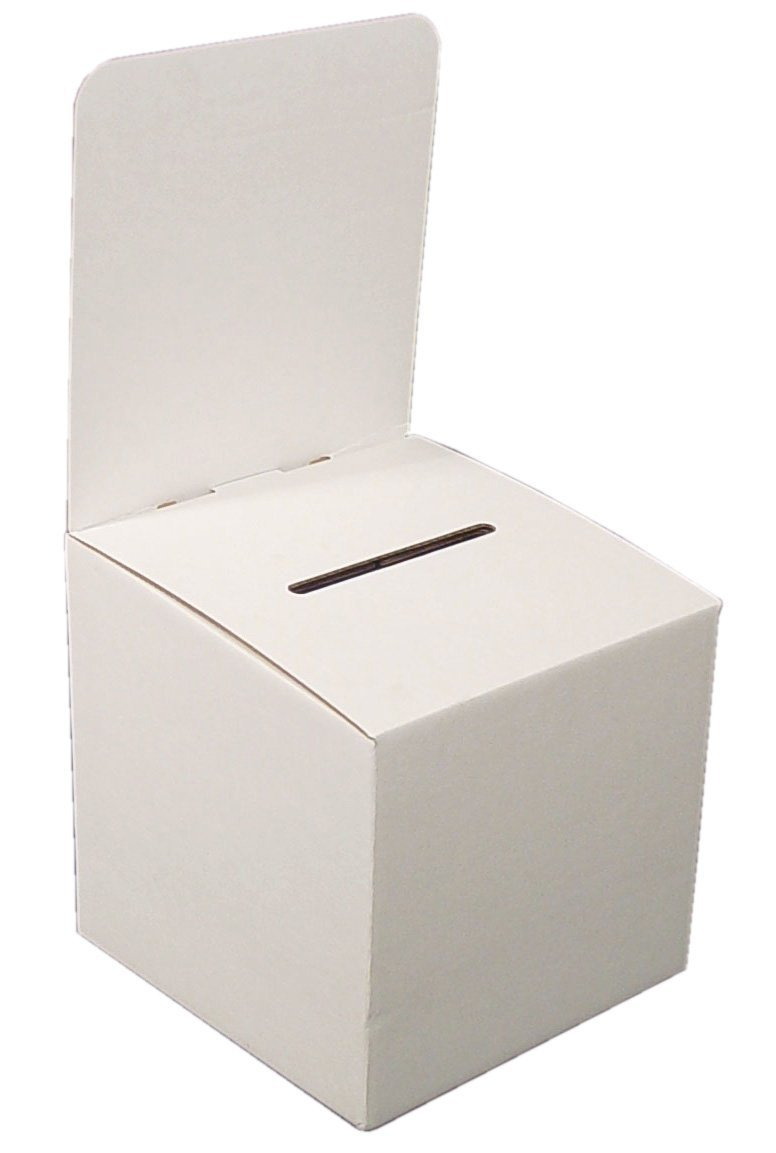 My Charity Boxes - Pack of 10 - Large Cardboard Box - Ballot Box - Suggestion Box - Raffle Box - Ticket Box - With Removable Header for Tabletop Use