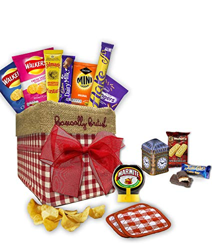 The Ultimate British Food in Traditional Hand Embroidered Basically British Box with pair of hand quilted drink Coasters (English Gift)