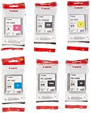 Canon PFI-102 Ink Tank for Canon iPF510/710/720, Complete Set of 6, 2X Matte Black/Black/Cyan/Magenta/Yellow Ink Tank