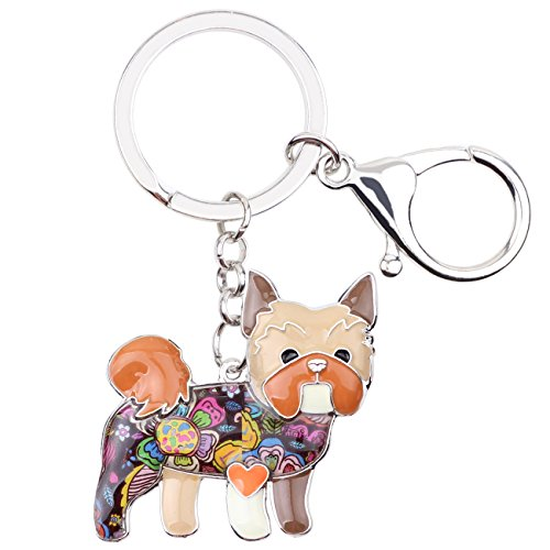 Bonsny Enamel Alloy Chain Yorkie Yorkshire Dog Key Chains For Women Car Purse Handbag Charms Jewelry (Brown) -