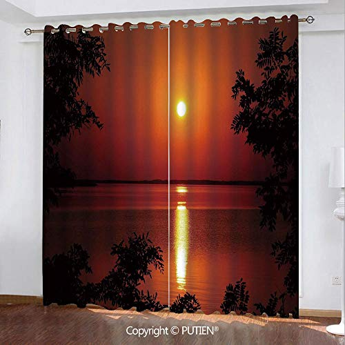 Satin Grommet Window Curtains Drapes [ Nature,Sunset Horizon Skyline Reflection on the Sea Rural Fresh Dramatic View,Red Scarlet Vermilion ] Window Curtain for Living Room Bedroom Dorm Room Classroom