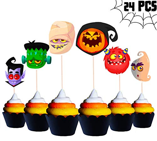Frankenstein Cupcakes Halloween (Halloween Cupcake Toppers | Festive Party Supplies | Halloween Cupcake and Cake Decorations | Pumpkin Ghost Vampire Zombie | Kids Teens Adults | Haunted House Spooky | Indoor Outdoor |)