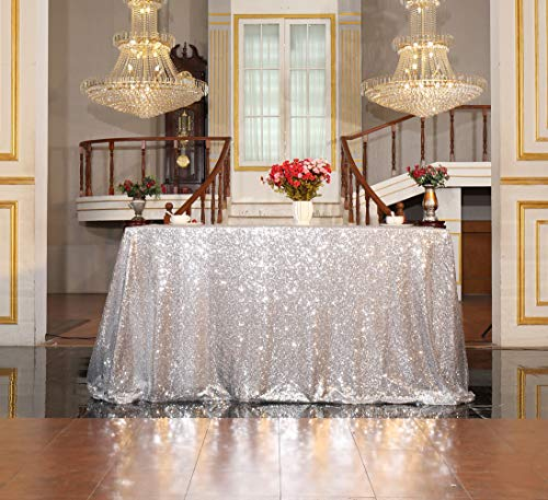 - SquarePie Rectangular Sequin Tablecloth 50 x 80-Inch Silver Sparkly Table Linen for Ceremony Wedding Party Dessert Table Christmas Decorations