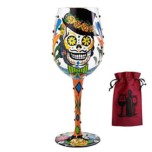 Sugar Skulls Wine Glass & Wine Bag - 2 Piece Wine Gift Set -