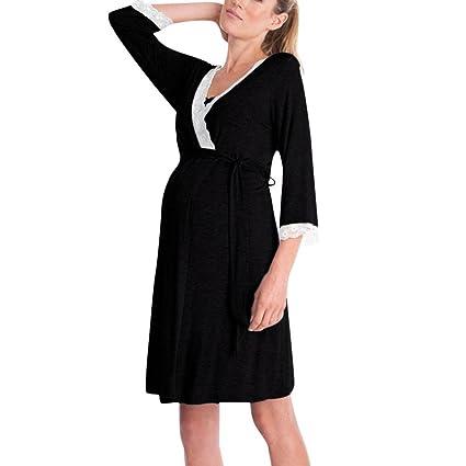 309c03edd Gusspower Vestido de Lactancia Maternidad de Noche Camisón Mujeres Embarazadas  Ropa de Dormir Premamá Pijama Verano Encaje