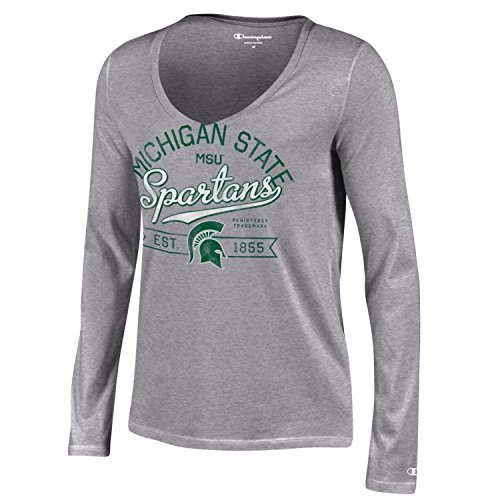 Champion NCAA Michigan State Spartans Women's University Long sleeve V-Neck T-Shirt, Large, Gray