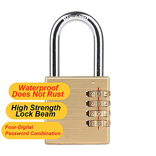 CASACLAUSI Lock Combination Padlock Weatherproof Brass Reset