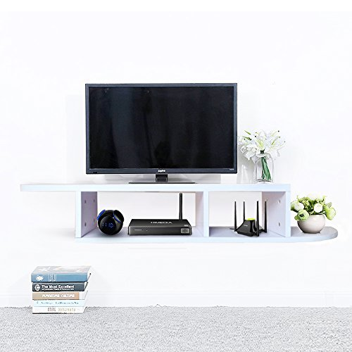 - 2 Tier Floating Shelf Wall Mount TV Console, Media Stand Entertainment Center for Cable Boxes, Routers, Remotes, DVD Players, Game Console, Books(White)