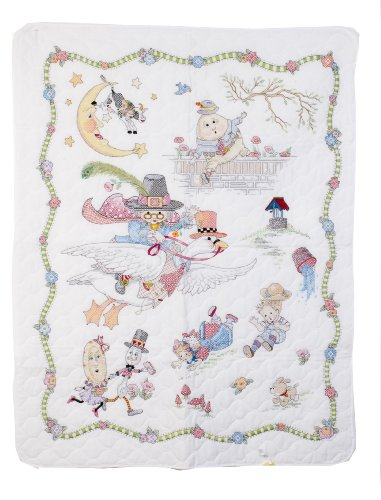 Bucilla Stamped Cross Stitch Crib Cover Kit, 34 by 43-Inch, 45359 Mary Engelbreit Mother Goose -