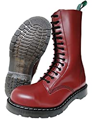 Solovair NPS Men´s Hand Made in England 14 Eye Cherry Red Steel Toe Boots