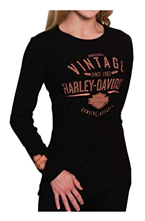 Harley Davidson Women S Original Vintage Long Sleeve Round Neck
