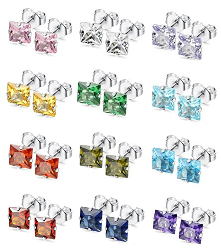 LOYALLOOK 12 Pairs Stainless Steel Square CZ Ear Piercing Birthstone Stud Earrings for Teens Girls 3MM (Earring Mm Birthstone 3)