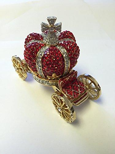 Red Crown Carriage Box Swarovski Crystals Keepsake Trinket, Pill Box Figurine (Bejeweled Miniature)