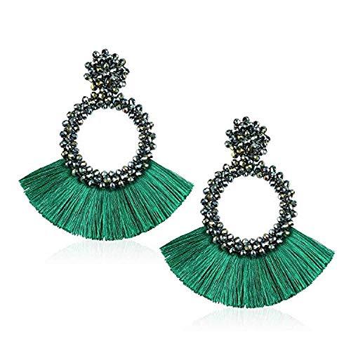 Beaded Tassel Earrings for Women Girls Statement Bohemian Long Fringe Drop Hoop Earrings (Green)