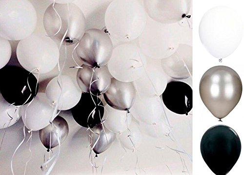 60 Ct Mixed 10-Inch Metallic Silver Black White Wedding Latex Balloon Garland Birthday Bridal Shower Party (Country Prom Theme)