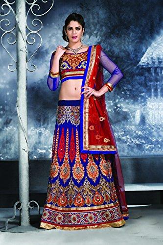 Facioun Designer Blue Ethnic Traditional Indian Da Blue Partywear in Lehenga Choli Georgette HFUwdwpqc