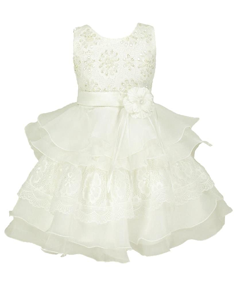 go2victoria Lace & Organza Occasion Baby Girl Infant Pageant Christening Dress 3 to 24 Months