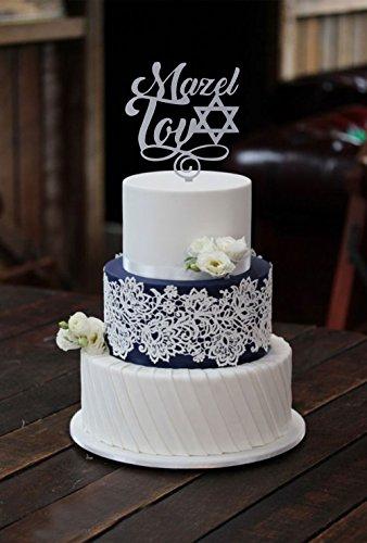 [USA-SALES] Mazel Tov Cake Topper, Jewish Wedding, Birthday, Bat Mitzvah, Bar Mitzvah Cake Topper, by USA-SALES Seller]()