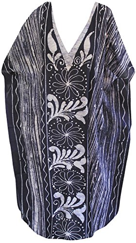 (LA LEELA Long Maxi Dress Swimwear Cover up Batik Caftan Navy Blue_U909 One Size)