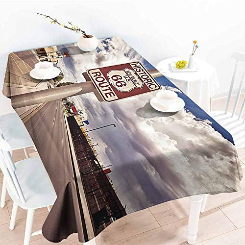 Homrkey Rectangular Tablecloth Americana Decor Collection Historic New Mexico US 66 Route Sign Roadway and Driving Roadside Nostalgic Scenery Picture Blue Easy to Clean W70 xL102 (66 Collection Ivy)