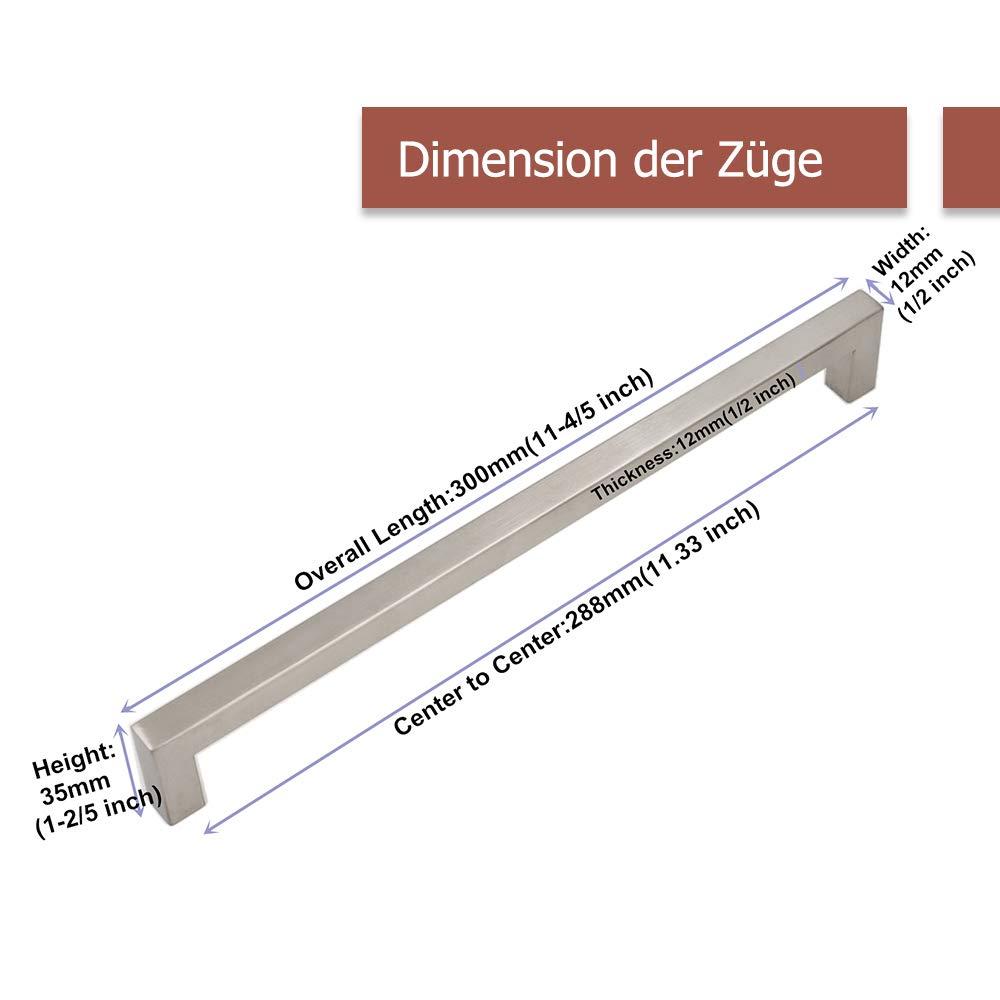 caj/ón ancho del tubo 12/mm x 12/mm cocina para armario Tirador Goldenwarm/® de acero inoxidable cepillado