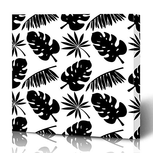 Ahawoso Canvas Prints Wall Art 16x16 Inches Philodendron Simple Pattern Palm Tree Leaves Natural Palmtree Nature Aloha Banana Black Branch Coconut Decor for Living Room Office Bedroom