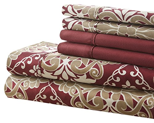 Spirit Linen, Inc Hotel 5th Ave Full Burgundy Damask 6 Piece Bellagio Home Collection Sheet - Ave 5th Shopping