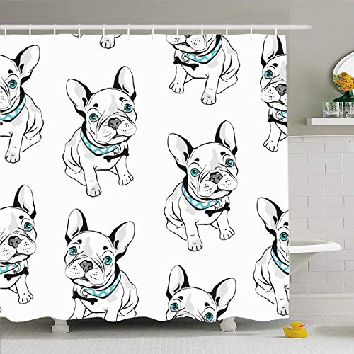 Ahawoso Shower Curtain 66x72 Inches Mammal Gray Frenchie French Bulldog On White Dog Head Sketch Black Canine Design Waterproof Polyester Fabric Bathroom Curtains Set with Hooks