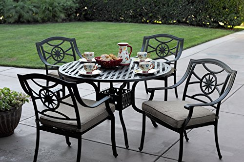 Darlee Ten Star Cast Aluminum 5 Piece Series 30 Round Table Dining Set with Seat Cushions, 48