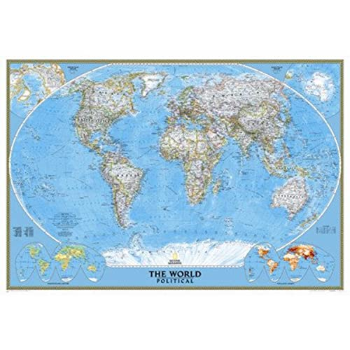 Flat map of the world amazon national geographic 92x64 classic world map mural gumiabroncs Choice Image