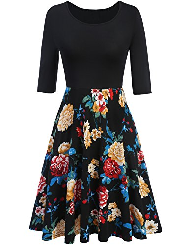 meaneor-womens-vintage-spring-floral-wear-to-work-casual-a-line-dresses-black-l