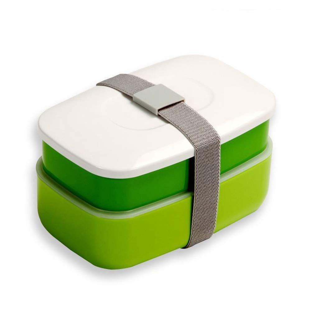 Lunch-Boxen WW&MM Doppelschicht-Kombination Tragbare Kunststoff-Lunch-Boxen Mikrowelle Kühlung Lebensmittel Obst Lagerung Lebensmittel Container Bento Box