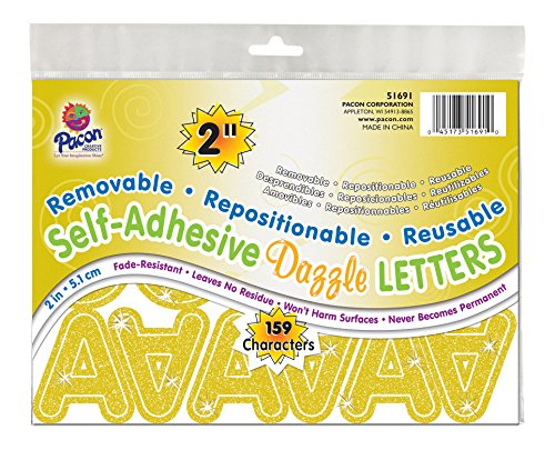 "Pacon 2"" Self-Adhesive Uppercase Letters, 159-Count, Gold Dazzle (51691)"