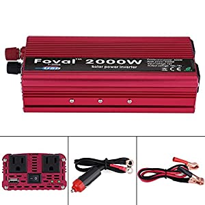 Car Power Inverter, 2000W DC 12V to 110V Car Solar Power Converter with 2 AC Outlets & USB Ports for Household Appliances in case Emergency, Hurricane, Storm and Outage (Color: popular, Tamaño: normal)