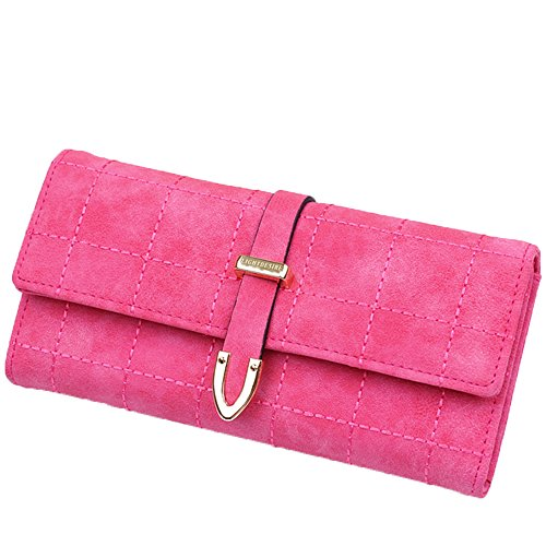 LIGHTDESIRE Lady Women Wallet Multi Credit Card Clutch Faux Leather RFID Blocking Purse (Rose (Ladies Red Rose)