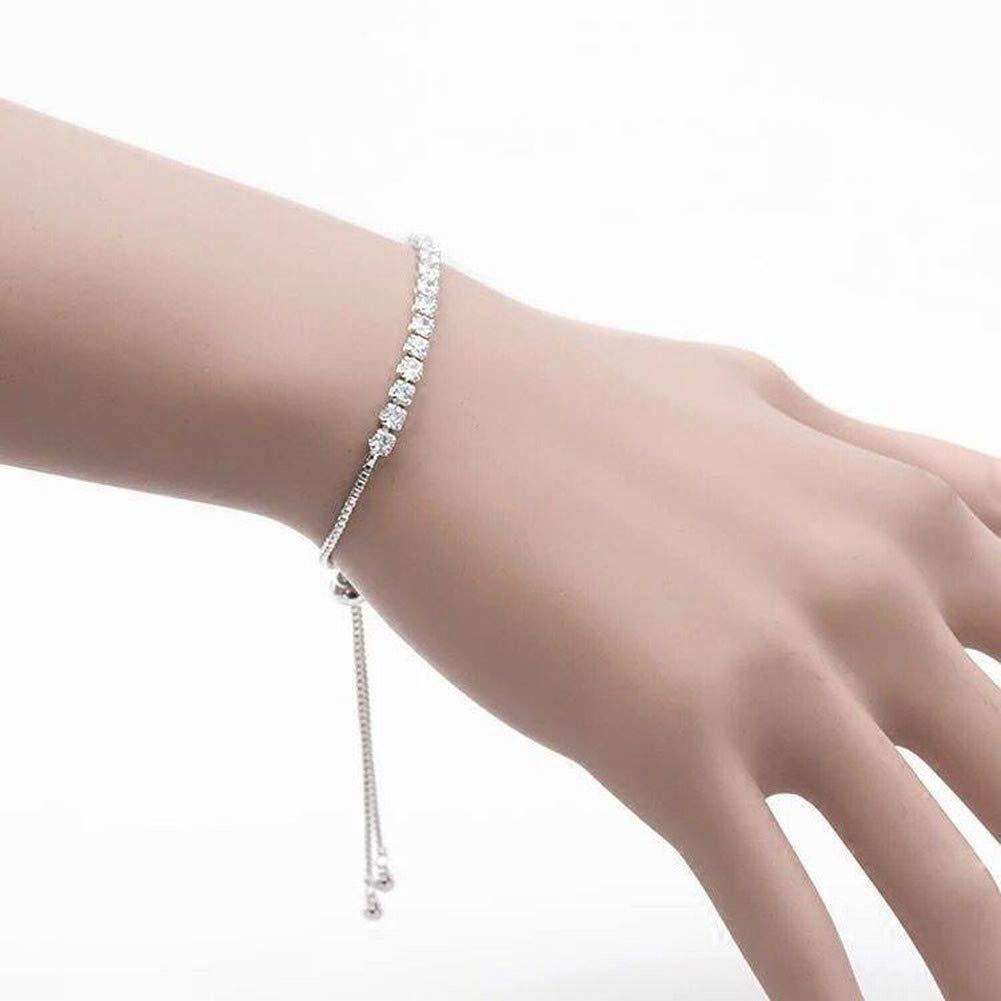 Aoxishiye Elegants Womens Bracelets Womens Simple Geometric Plating Bracelet Bracelet S925 Silver Bracelet Women Single Row Diamond Full Bracelet Personality Fashion Joker