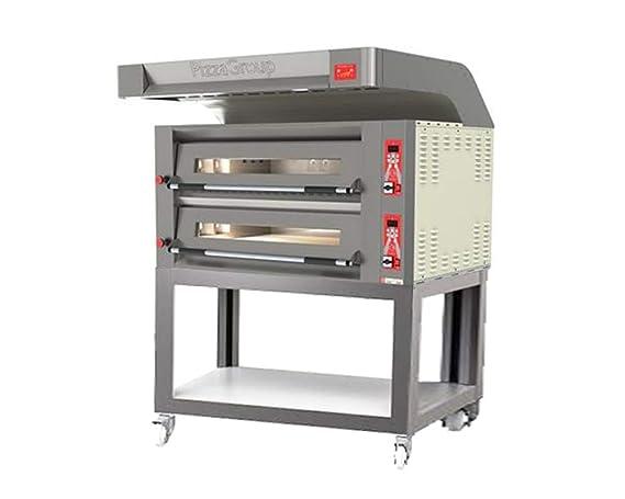 Horno Doble Flame 9 + 9 de gas pizzas con Cubierta, carrito y ...