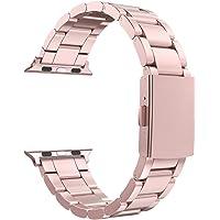 Anjoo Correa para Apple Watch, Muñeca Banda Reemplazo para Apple Watch 38mm/40mm Series 4/3/2/1, Acero Inoxidable con Metal Corchete (Rosado)