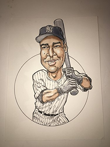 NY New York Yankees Bernie Williams #51 Original Art Illustration Rare HERO Deck B&W Drawing(Parody Productions LOA)