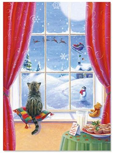 Classic Christmas Card (Classic Christmas Card 9 Pack ~ Watchful Kitten, Magic of Christmas (5
