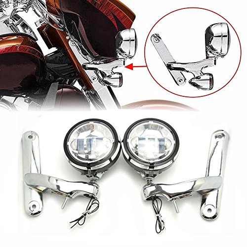 "Price comparison product image 4.5"" Chrome Led Auxiliary Lights With Chrome 4.5 inch Housing Bucket and Mounting Brackets For Harley Street Glide"