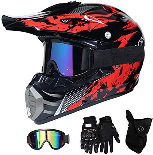 Motorhelm Rood, Kinderen Crosshelm Kinderen Motorhelm Motorhelm Kind, Motorhelm Motocross Helmen Motorcrosshelm Cross…