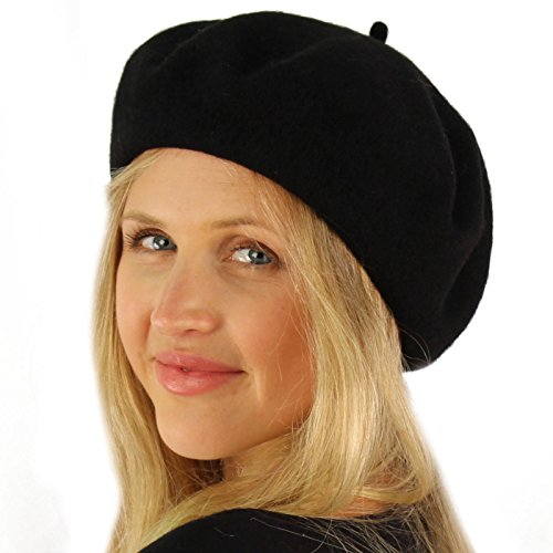 (Classic Winter 100% Wool Warm French Art Basque Beret Tam Beanie Hat Cap Black)