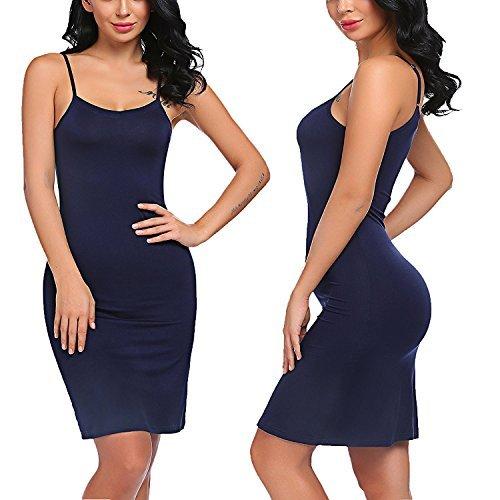 Corgy Women's Soft Chemise Sexy Straps Full Slip Cami Lingerie Lounge Dress Nightgown(Navy (Navy Blue Slip)
